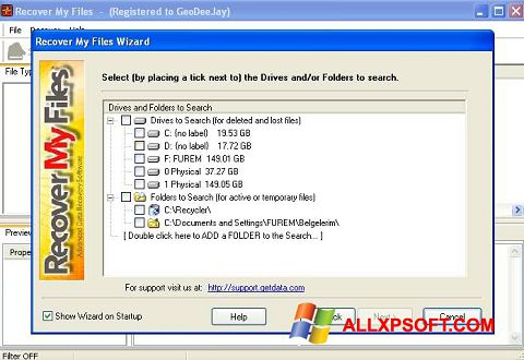 Screenshot Recover My Files per Windows XP