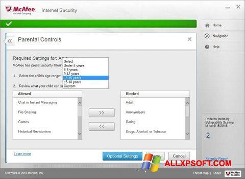 Screenshot McAfee per Windows XP
