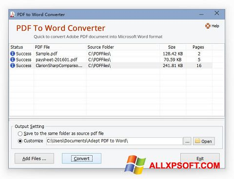 Screenshot PDF to Word Converter per Windows XP