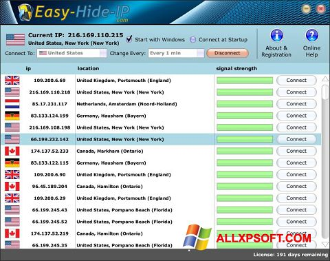 Screenshot Hide IP Easy per Windows XP