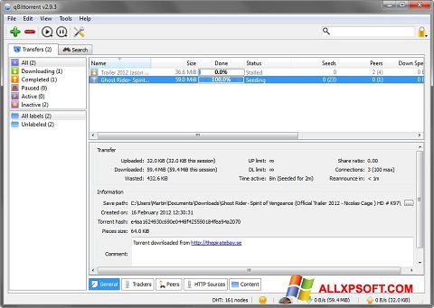Screenshot qBittorrent per Windows XP