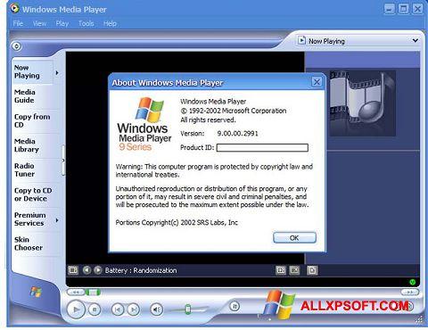Screenshot Windows Media Player per Windows XP