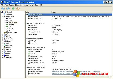 Screenshot AIDA32 per Windows XP