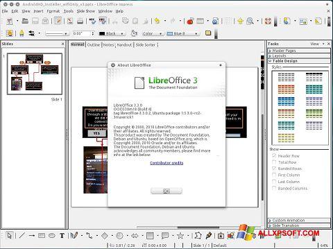 Screenshot LibreOffice per Windows XP