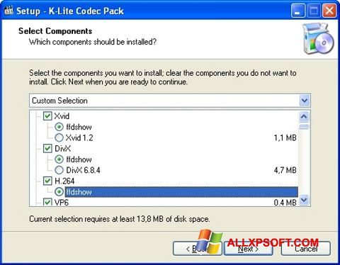 Screenshot K-Lite Codec Pack per Windows XP