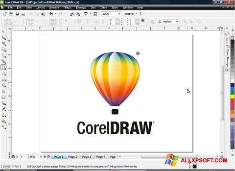 Screenshot CorelDRAW per Windows XP