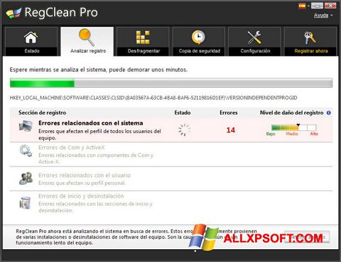 Screenshot RegClean Pro per Windows XP