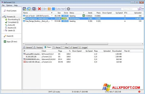 Screenshot BitTorrent per Windows XP