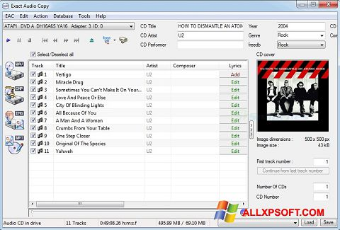Screenshot Exact Audio Copy per Windows XP