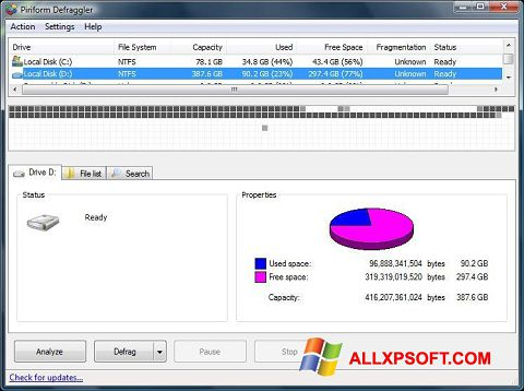 Screenshot Defraggler per Windows XP