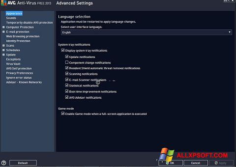 Screenshot AVG per Windows XP
