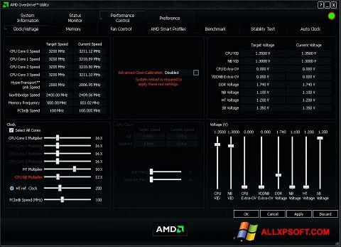 Screenshot AMD Overdrive per Windows XP