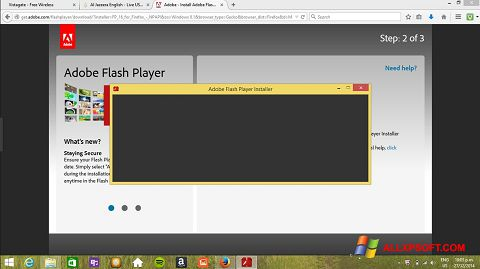 Screenshot Adobe Flash Player per Windows XP