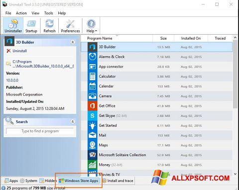 Screenshot Uninstall Tool per Windows XP