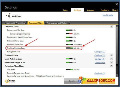 Screenshot Norton per Windows XP