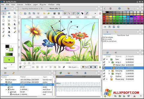 Screenshot Synfig Studio per Windows XP