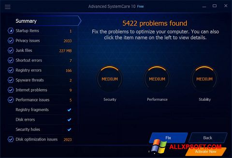 Screenshot Advanced SystemCare Free per Windows XP