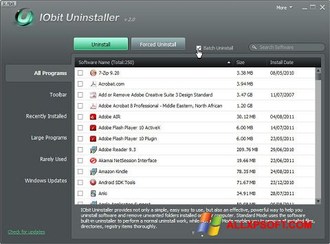 Screenshot IObit Uninstaller per Windows XP