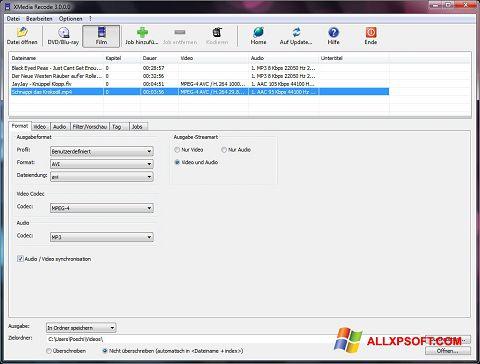 Screenshot XMedia Recode per Windows XP