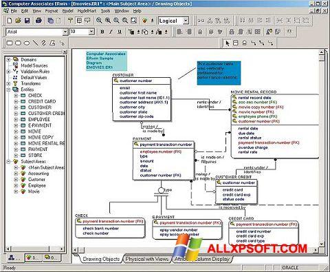 Screenshot ERWin per Windows XP