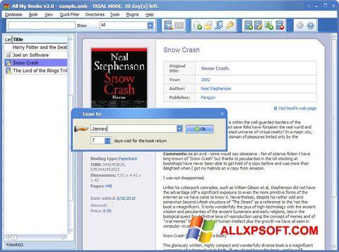 Screenshot All My Books per Windows XP