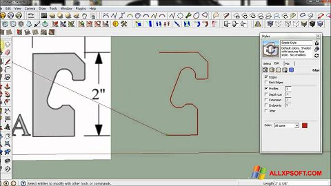 Screenshot SketchUp per Windows XP