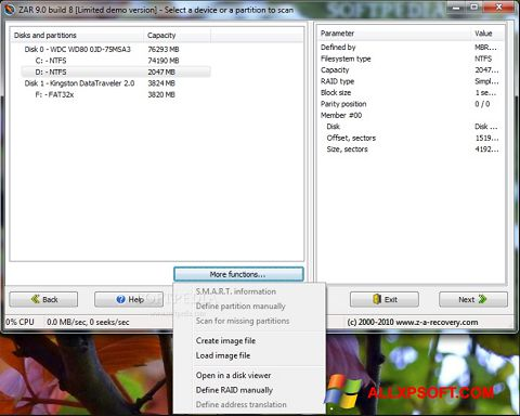 Screenshot Zero Assumption Recovery per Windows XP