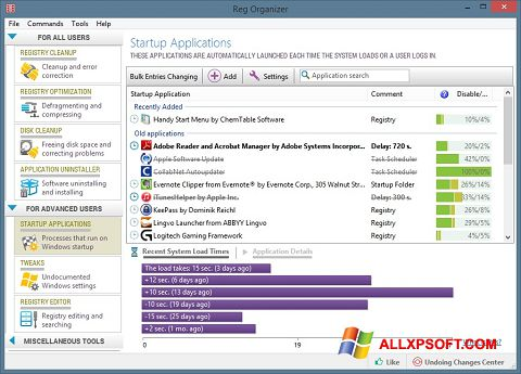 Screenshot Reg Organizer per Windows XP