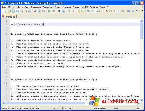 Screenshot Notepad++ per Windows XP