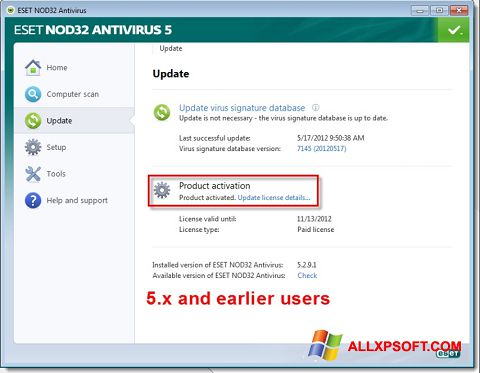 Screenshot ESET NOD32 per Windows XP