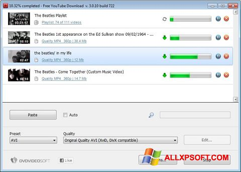 Screenshot Free YouTube Download per Windows XP