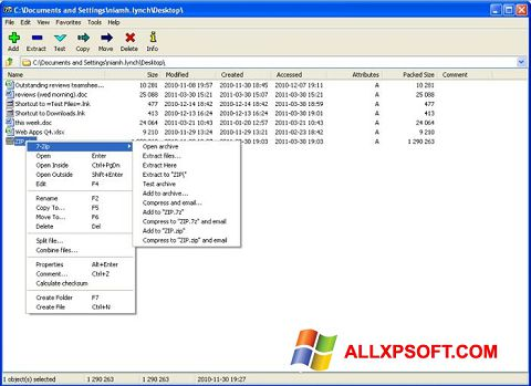 Screenshot 7-Zip per Windows XP