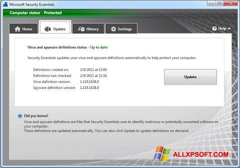 Screenshot Microsoft Security Essentials per Windows XP