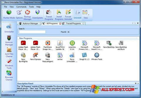 Screenshot Revo Uninstaller Pro per Windows XP